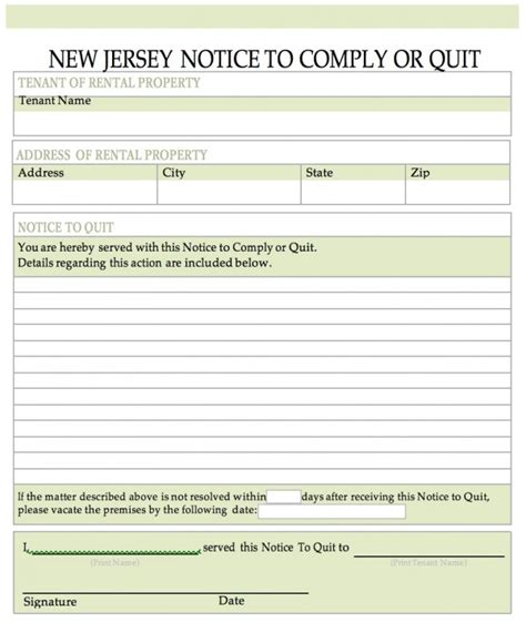 Tenant Eviction Notice New Jersey Free New Jersey Notice To Quit Notice To Cease