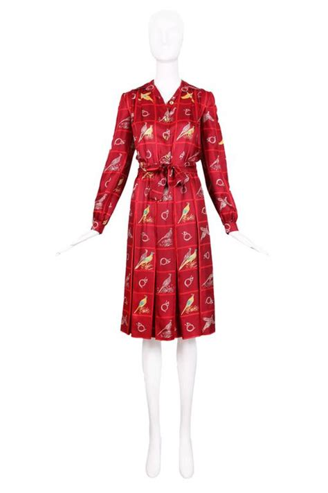 Horn Style Sml Dress vintage gucci burgundy silk pleated dress w pheasant and horn print for sale at 1stdibs