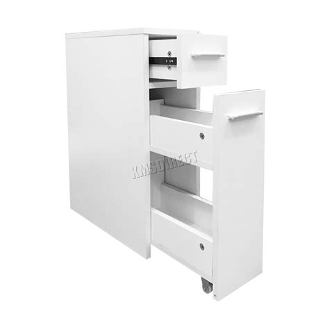 Bathroom Storage Cupboards White Foxhunter Slimline Bathroom Slide Out Storage Drawer Cabinet Cupboard Unit White Ebay