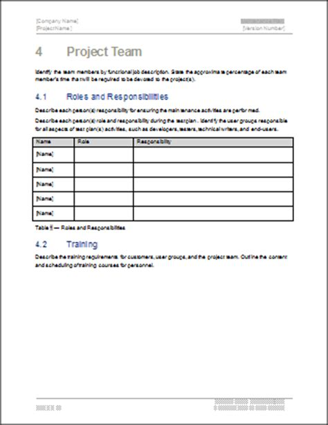 Team Plan Template by Maintenance Plan Template