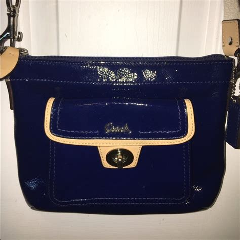 Coach Navy Blue Crossbody 63 coach handbags coach navy blue patent leather