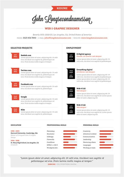 infographic resume template free 40 creative cv resume designs inspiration 2014 web