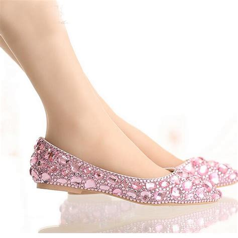 pink flat color flat heel pointed toe shoes colorful rhinestone bride