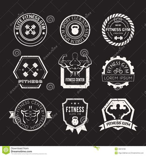 Kaos Fitness World Graphic 6 fitness and sport logos stock vector image 48619789