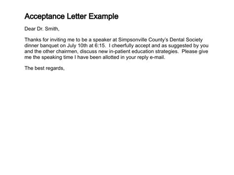 Writing An Acceptance Letter To A Update 1305 Letter Sles Sle Confirmation