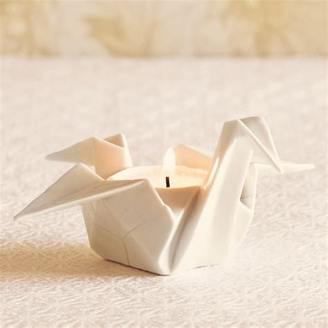 Origami Candle - porcelain origami votive holder gump s