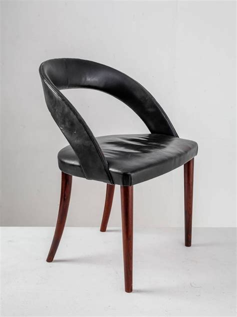 Black Vanity Chair by Frode Holm Rosewood And Black Leather Vanity Chair