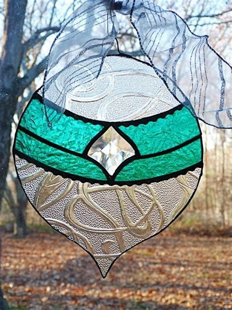 stained glass large christmas ornament teal and clear