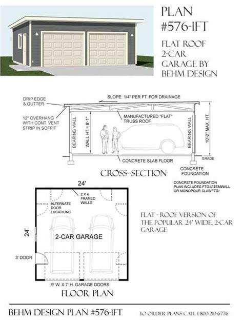 Flat Roof Garage Plans by Two Car Garage With Flat Roof Plan 576 1ft 24 X 24 By