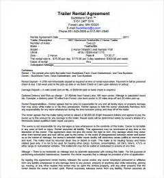 trailer rental agreement template sle trailer rental agreement template 7 free