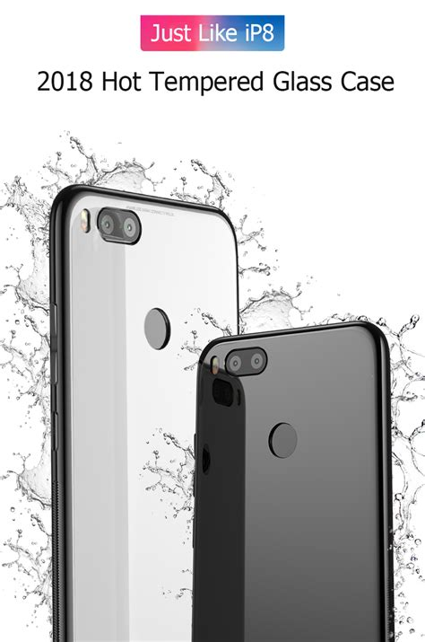 original bakeey tempered glass mirror back cover soft tpu frame protective for xiaomi mi