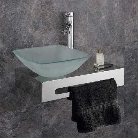 wall mounted basin sink wall mounted 50cm stainless steel shelf with glass basin