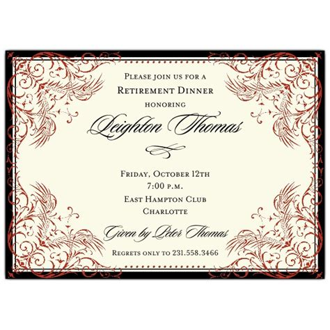 black and red elegant border retirement invitations