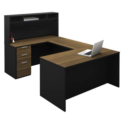 Black U Shaped Desk Bestar Pro Concept U Shaped Workstation With Small Hutch Milk Chocolate Bamboo And Black