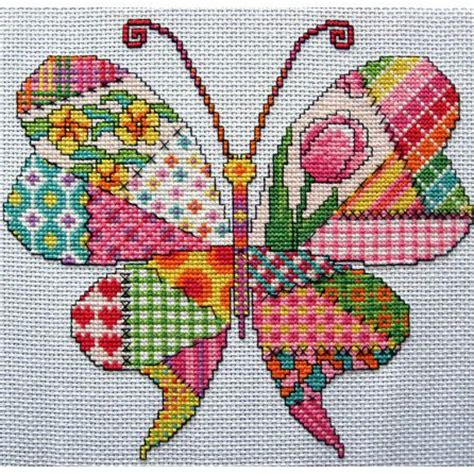 Patchwork Butterfly Pattern - patchwork butterfly cross stitch pattern pdf instant