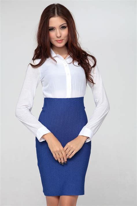 starry office high waist skirt blue casual dress