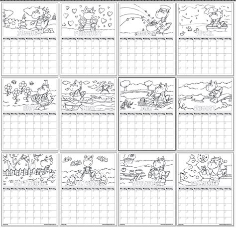 free coloring pages of months of the year