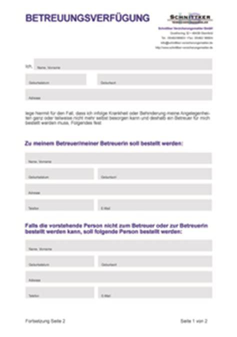Muster Vorsorgevollmacht Schweiz Betreuungsverf 252 Gung Formular Muster Kostenlos Downloaden