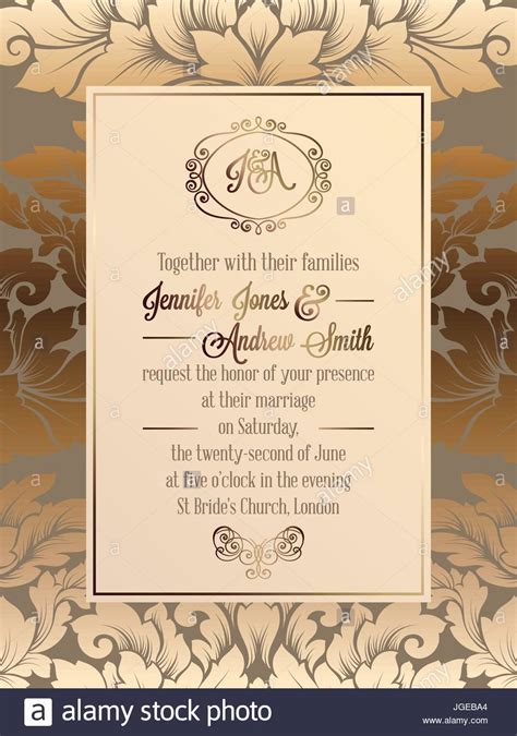 classic wedding card template vintage baroque style wedding invitation card template