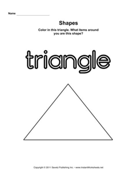 triangle printable worksheets for preschoolers triangle shape