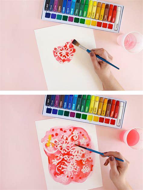 watercolor design tutorial easy watercolor art rubber cement resist persia lou