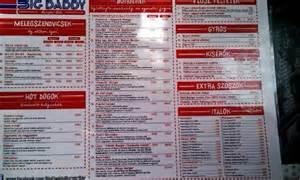 Top Bar Burger Menu Menu Picture Of Big Daddy Burger Bar Budapest Tripadvisor