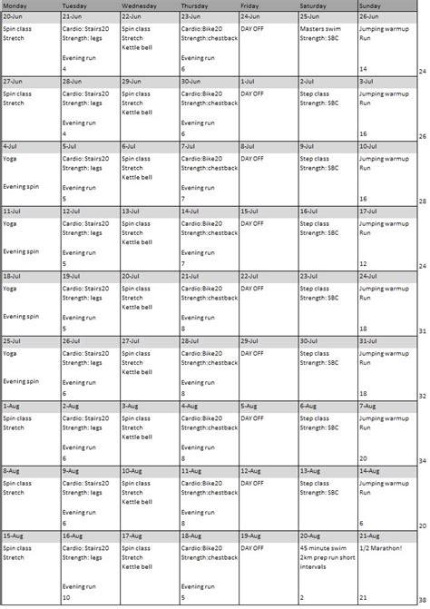 running room schedule half marathon plan healthful pursuit