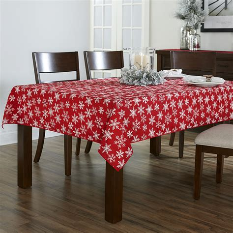 Snowflake Table Linens - trim a home 174 heat transfer tablecloth snowflake home dining amp entertaining table linens