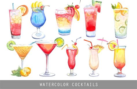 watercolor cocktail watercolor cocktails illustrations creative market