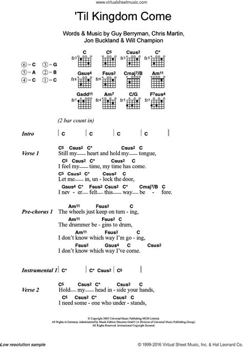 coldplay kingdom come coldplay til kingdom come sheet music for guitar chords