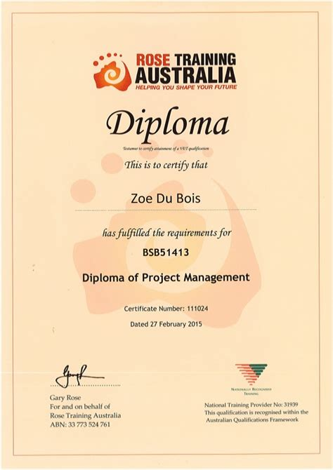 Pm Certificate And Mba diploma of project management certificate zoe du bois