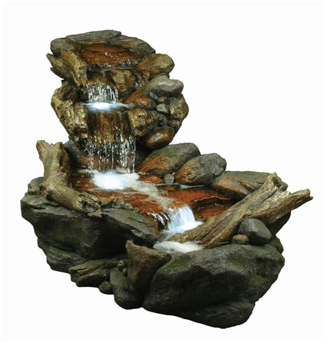 large boulder river falls water feature  lights wcm
