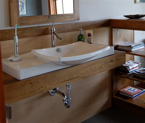 Wooden Bathroom Countertops by Thick Reclaimed Ash Finds New As A Bathroom Countertop Custom Bathroom
