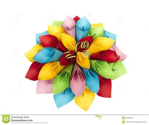 How To Make Colored Paper Flowers - paper flower color stock photo image 35298500