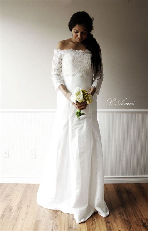 Brautkleider Chagner Spitze by Shoulder Ivory White Lace Wedding Dress Custom