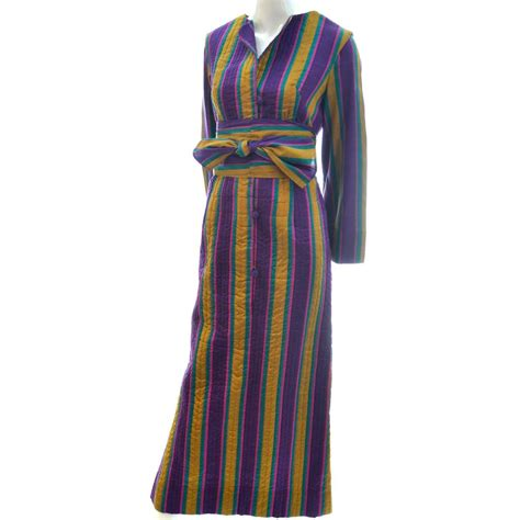 The Seams Bill Blass Hits Saks Fifth Avenue by Vintage Silk Caftan Saks Fifth Avenue Stripes Sash 1970s