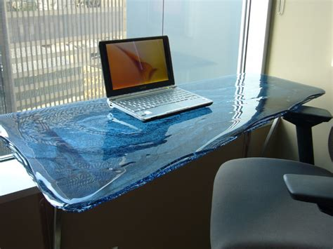 fused buru glass table top contemporary desks and