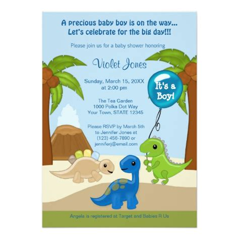Adorable Dinosaur Baby Shower Invitations Boy Zazzle Com Dinosaur Baby Shower Invitation Template