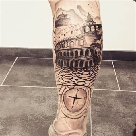 on the bridge to letter days colosseum tattoo on right