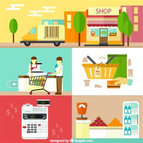 Awning Mart Shopping Elements In Flat Design Vector Free Download