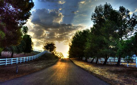 clouds trees road sun fences wallpapers clouds trees