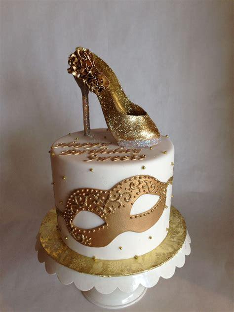 high heel birthday cake ideas glam birthday cake gold high heel masquerade glitter