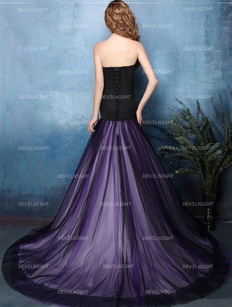 black  purple mermaid gothic wedding dress devilnight
