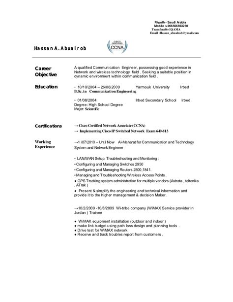 Electronics Resume Sample by Telecom Engineer Cv