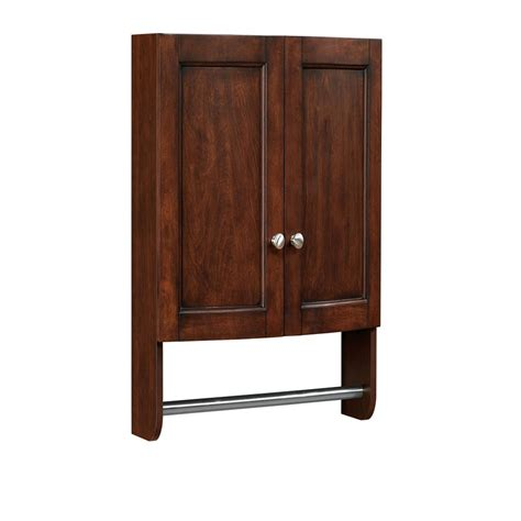 Bathroom Storage Cabinets Lowes Shop Allen Roth Moravia 22 In W X 25 In H X 8 12 In D Poplar Bathroom Wall Cabinet At