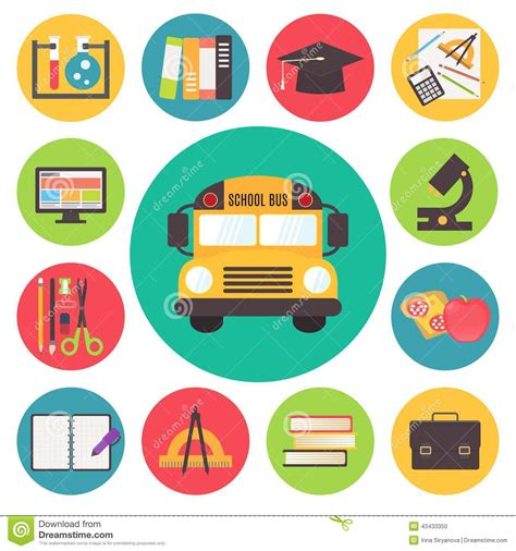 school supplies icon set back back to school bus and supplies vector icons set stock