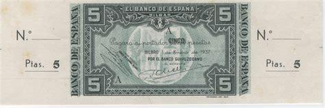 horario banco de espa a 1 enero 1937 banco de espa 241 a bilbao 5 pesetas