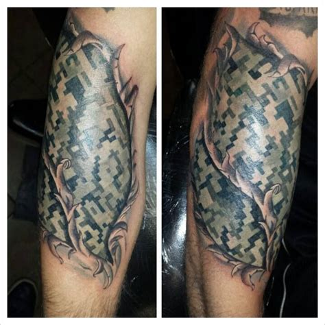 camo tattoo torn skin digital camouflage tats