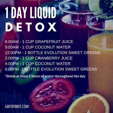 1 Day Detox For by 1 Day Liquid Detox Grit By Brit
