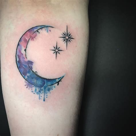 watercolor star tattoo watercolor crescent moon and pan on beautiful